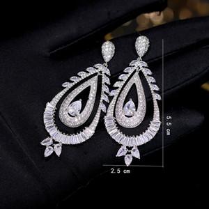 Circón de lujo de circonio cúbico gota de agua a largo colgando pendientes de plata, joyería nupcial para bodas, fiestas de ropa de novia ZY