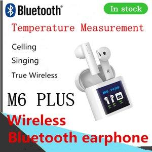 لاسلكية M6 PULS بلوتوث سماعة الأذنين سماعات الهاتف الخليوي سماعة رأس المغناطيسي قياس درجة الحرارة الشحن TWS سماعة DHL