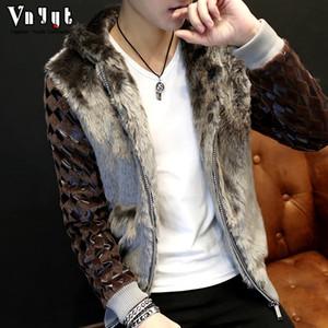 الرجال الموضة الجديدة جلدية قصيرة سترة الفراء سترة غير السائدة معطف الفرو كم طويل معطف الفرو فو شحن مجاني