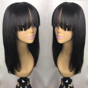 18inch íntegramente peruana del pelo de la franja de la peluca de cabello humano sin cola 360 de encaje frontal de la peluca con flequillo blanqueado nudos de encaje pelucas para las mujeres ujibg