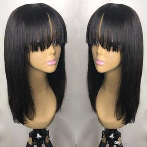 18inch peruana cabelo cheio Fringe peruca Glueless Cabelo Humano 360 Lace frontal peruca com franja Bleached Nós Lace perucas para mulheres ujibg