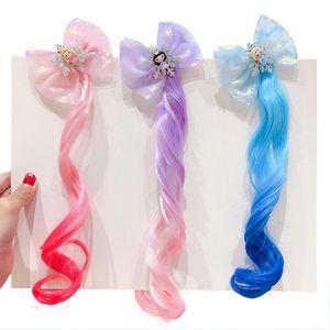 Gradiente peruca Grampos para clipes Meninas Princess Hairstyle cabelo falso Braid cocar cabelo das crianças das crianças Pinos Acessórios