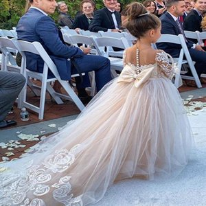 New Fashion 2020 Flower Girl Dress Jewel Collar Lace Applique Custom made Ball Gown Wedding Guest Dress Long Sleeves Girl