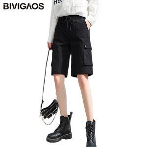 BIVIGAOS Cargo Shorts Women 2020 Summer New Loose Straight Large Pockets Short High Waist Thin Sport Shorts Casual Knee