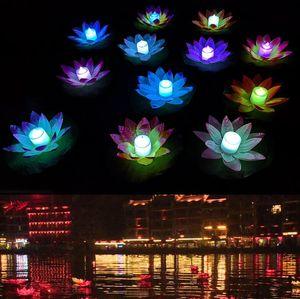 LED لوتس مصباح ملون تغيير العائمة بركة المياه ورغبة ضوء العائم زهرة اللوتس مصباح شمعة الديكور الحزب الراغبين مصابيح LSK116