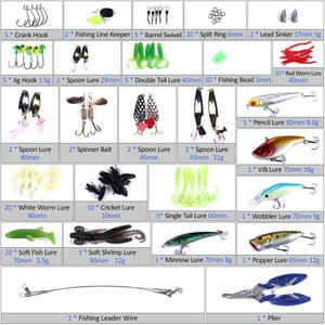 110pcs Fishing Lures Mess Kit Assorted Artificial Spinner Minnow Popper VIB Soft Hard Spoon Lure Bait Hooks Plier Set Tackle Box