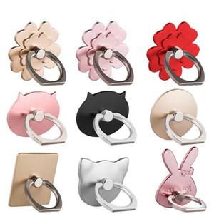 Nuevos 7 diseños Teléfono celular universal Soporte para anillo de dedo Soporte de agarre de 360 grados Metal Lazy Buckle Para Smartphone Soporte con bolsa de oro
