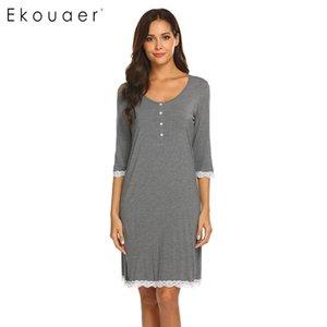 Ekouaer Nightgown Spring Summer Sleepwear Dress Women Fashion Nightdress V-Neck Maternity Three Quarter Sleeve Button Nightwear CX200704
