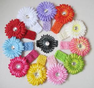 Kinder Accessoires Haar Blumen Häkelarbeit-Stirnband-Baby-Haarbänder Mädchen Gänseblümchen-Stirnband-Kinder Chrysantheme Hauptbänder M1321