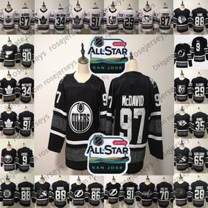 사용자 정의 2019 NHL 올스타 게임 유니폼 # 88 David Pastrnak 9 Jack Eichel 패트릭 케인 97 McDavid 35 Pekka Rinne 9 Taylor Hall