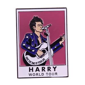 Harry Styles giro mondo pin smalto guitar music distintivo Gay Pride distintivo gioielli LGBT accessorio pastello arte
