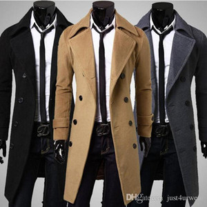 Mens Slim Trench Long Coat Jackets Winter Long Sleeved Double Breasted Overcoat Male Solid Color Windproof Outerwear Clothing