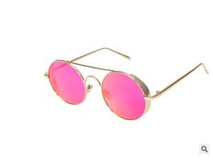 Nova 2019 Sunglasses Redonda Cor da Armação Sunglasses European Film e da moda óculos de lentes grossas dos óculos de sol borda americanos