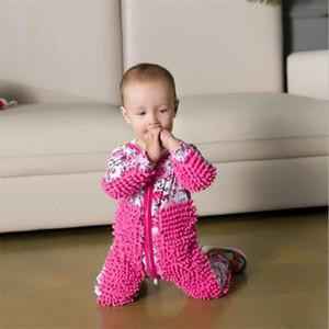 Maglia bambino Mop Piedini vestiti Lala manica lunga striscianti Abbigliamento tuta di un pezzo del vestito infantile del cotone di pulizia Mop Suit LY191228
