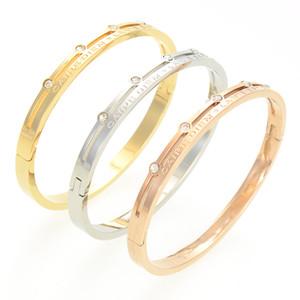 las mujeres de la joyería de lujo de diseño clásico de pulsera con brazaletes de oro para hombre de cristal brazalete del acero inoxidable de 14K amor pulseras de muñeca Bracciali
