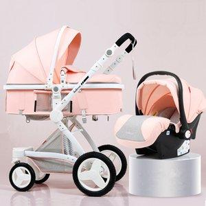 Высокая Landscape Детская коляска 3 в 1 Luxury Hot Mom Коляска для путешествий Прам Реверсивный младенца вагонетки Розовый с Автокресло