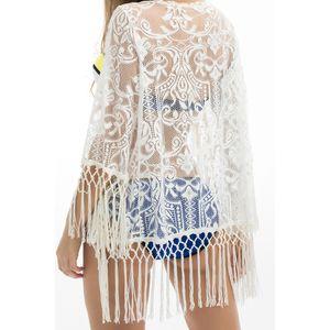 Womens Tops Womens Blusas Mulheres Boho Summer Beach Balneares Lace Crochet Lace Tassel Swimwear Kimono Cardigan Floral Blusa Feminina