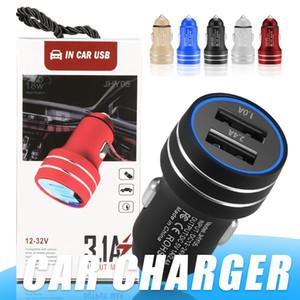 Soquete Car Charger Universal Car Charger Adaptador de Metal Segurança martelo Dual USB plug para iPhone Samsung com pacote de varejo