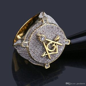 18K Gold Plated White CZ Cubic Zirconia Vintage AG Masonic Ring Hip Hop Bling Rings Diamond Jewelry Gifts for Men 16mm Size 7-11 Wholesale