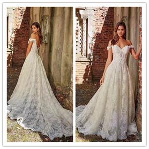 2020 Новый оптовый - Elegant от плеча шнурка Свадебные платья Аппликация A-Line с Свадебное платье шлейф Длинные свадебное платье Sexy Back