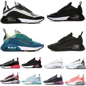2090 zapatos corrientes para los hombres de las mujeres Pure Platinum Pato Camo Bred triples blancas negras de entrenadores deportivos zapatillas de deporte Tamaño 36-45