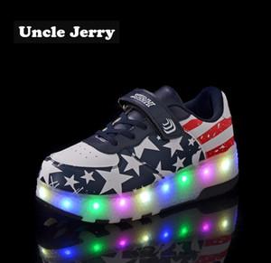 Unclejerry Tamaño 27-43 Kids Led Shoes Light Up Sneakers para niños niñas Zapatos luminosos para niños grandes y juveniles Sport Sneakers Y19062001