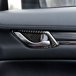 Fibra de carbono + PU Auto Porta Interior Tigela Quadro TRIM fit para Mazda6 ATENZA Mazda3 Axela CX-5 / CX-3 / CX-8 / CX-9 / CX5 / CX3 / CX8 / CX9