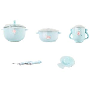 5 Sets Of Baby Cutlery Set Stainless Steel Cute Cartoon Insulation Bowl Children Hot Water Insulation Bowl Children Feeding Tabl