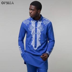 Opslea Dashiki African Men Stand Collar Long Sleeve Shirt Bazin Riche National Tribal Print Clothes 2019 Casual Slim Fit Shirt