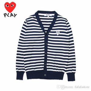 Best Quality Com Des Garcons C216-2 Royal Blue White Heart cardigan Unisex Casual Thin V-Neck Sweatershirts CDG Play Hoodie Coat