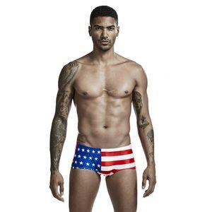 Мужские США Великобритания флаг печати купальники летние дизайнерские мужские сексуальные тонкие спортивные боксерские шорты подростковая мода нижнее белье