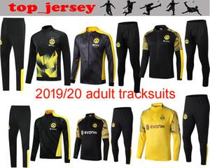 Kit formato S-2XL Nuovo BVB Borussia Dortmund Calcio completa con cerniera Giacca di calcio 19 20 GOTZE REUS Witsel giacca Warm-up tuta Tuta