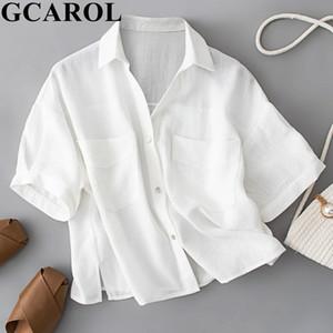 GCAROL femmes 30% en coton blanc et chemise rose à manches courtes col en V surdimensionné recadrée Hauts Boyfriend style Printemps Chemisier