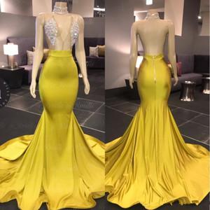 2020 New col en V manches sirène Robes de bal balayage train Crytal Stain formelle africaine robe de soirée