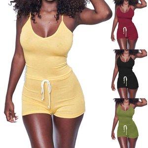 Pantalones ocasionales de las mujeres sin mangas de encaje bodycon del mono de la cintura que Clubwear del mono del vendaje corto para las señoras
