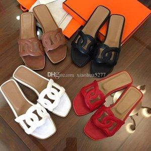Mix Renkler ile 2019size 35-41 Kadınlar Tasarımcı Sandalet Üst Deri Toz Çanta Tasarımcısı Ayakkabı Yaz Geniş Düz Sandalet Terlik Orig Slide