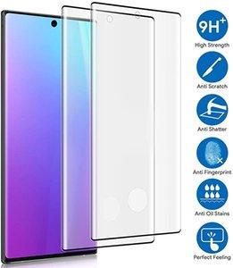 Pour Samsung Note 20 colle Pro Edge sans trou Anti Scratch Protecteur d'écran incurvé Works d'empreintes digitales en verre trempé avec le paquet détail