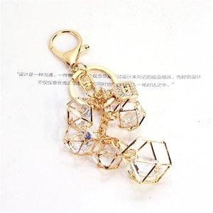 Elegant Rhinestone Geometric Crystal Keychain for Women Girls Gold Color Metal Car Key Rings Creative Fashion Jewelry Gift Q-005