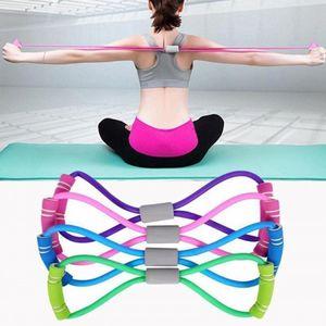 TPE Yoga Gel Resistencia adecuado 8 Palabra de goma en el pecho aptitud cuerda ejercicio del músculo dilatador elástico venda del ejercicio