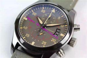 ZF usine pilote TOP GUN Mens Watch suisse ETA7750 automatique Chronographe mécanique Montre-bracelet saphir Montres boîtier en céramique super étanche