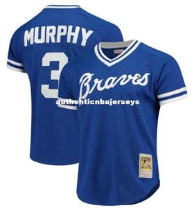 A buon mercato NUOVO MITCHELL NESS ATLANTA # 3 MURPHY PRACTICE MESH Royal Blue JERSEY Throwbacks Maglie da baseball cucite da uomo