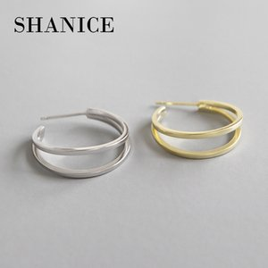 SHANICE Double Layers 925 sterling silver Circle Ladies Earing Gold-color Hoop Earring High Quality Big Loop Wedding Jewelry