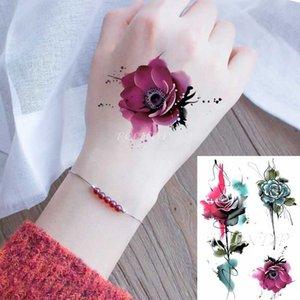 Kadınlar Erkekler için su geçirmez Geçici Dövme Çıkartma Renk Çin Su-mürekkep Gül Çiçek Sahte Tatto Flaş Dövme El Kol Sanat
