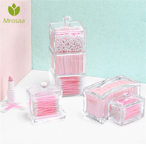 Hot Acrylic Makeup Organizer Cotton Swabs Storage Box Cosmetic Organizer Cotton Pads Qtip Makeup Clear Container Case Casket T191218