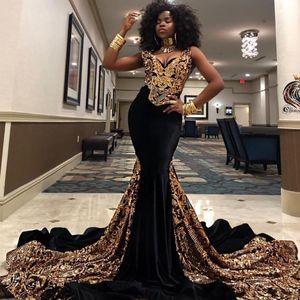 2019 New Gold 스팽글 인어 무도회 드레스 V 넥 남아프리카 Black Girls 이브닝 가운 Plus Size Special Occasion Dress Abendkleider