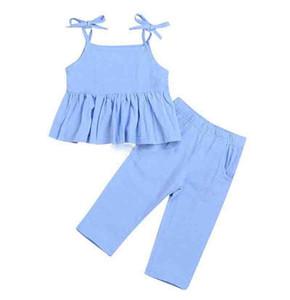 2019 Sommer Infant Baby Mädchen Kleidung Halfter Rüschenhemd Top Minikleid + baby Lange Hosen Hose Blau Kinder Outfits 1-6Y