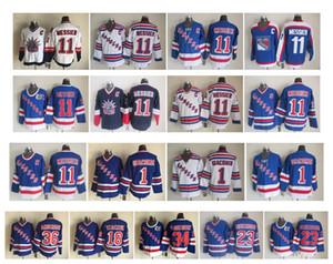 Vintage New York Rangers Forması 11 Mark Messier 1 Eddie Giacomin 18 Walt Tkaczuk 23 Jeff Beukeboom 34 John Vanbiesbrouck Retro Hokey Forması