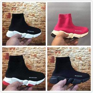 2018 de lujo barato del calcetín del zapato Speed Trainer Trainer zapatillas de deporte corrientes del calcetín Carrera Participantes Zapatos negros del niño Calzado deportivo 25-35