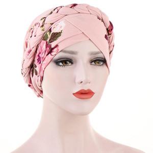 2020 Stretchy Turban Head Wrap Band Top Quality Chemo Bandana Hijab Flower Printed Indian Cap