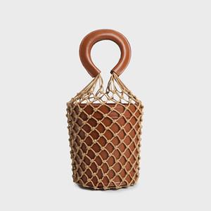 Designer-Knit Seil Frauen Net Bucket Bag Luxus Designer Handtaschen Mode aushöhlen Leder Sommer Reise Strand Tote Bag weibliche Handtaschen